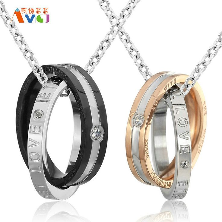 AMGJdk Titanium Steel Couple Necklace&Pendants With Letters Crystal His And Her Promise Necklaces Set #Affiliate