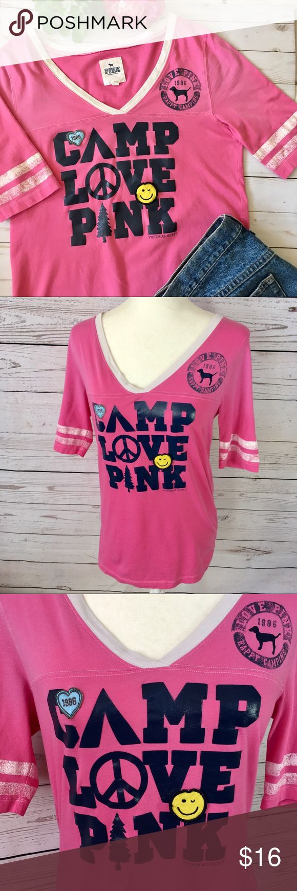 "Victoria secret PINK graphic Tee shirt Victoria's Secret PINK graphic  ""CAMP LOVE PINK"" Love"" tee shirt. Happy face And heart patches embroidered on. Elbow length leaves have distressed white stripes. Plain back. Gently loved. Condition consistent with shirt been worn and washed a few times.No stains or tears. Measurements taken with item laying flat & are approximate.                                 •Armpit to armpit• 18"".                  •Length• 26"" PINK Victoria's Secret Tops Tees…"