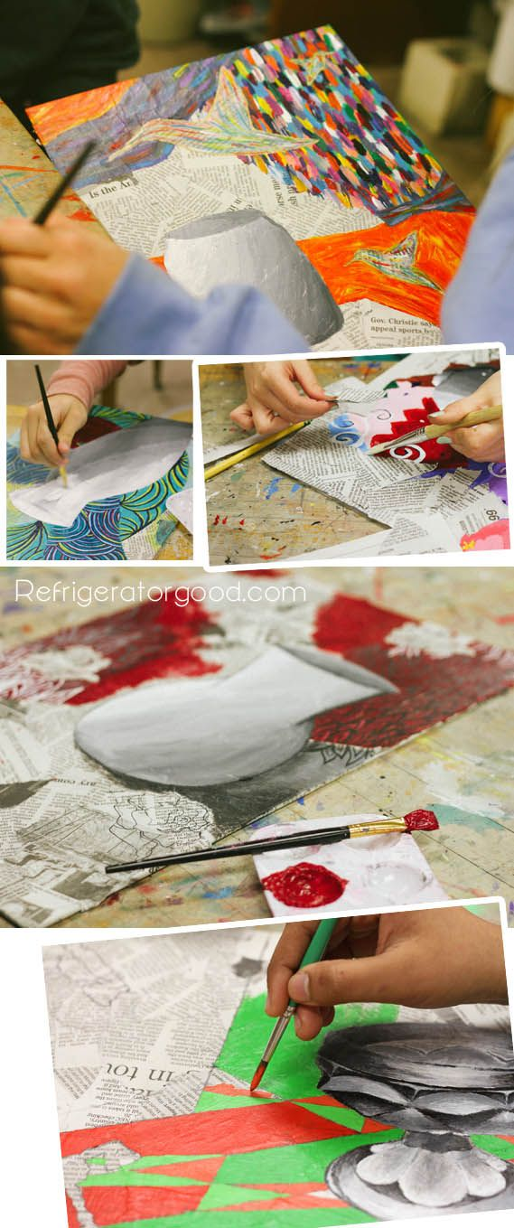 High School Art lesson: Mixed Media Painting [Art II class] Inspiration :The blooming palette