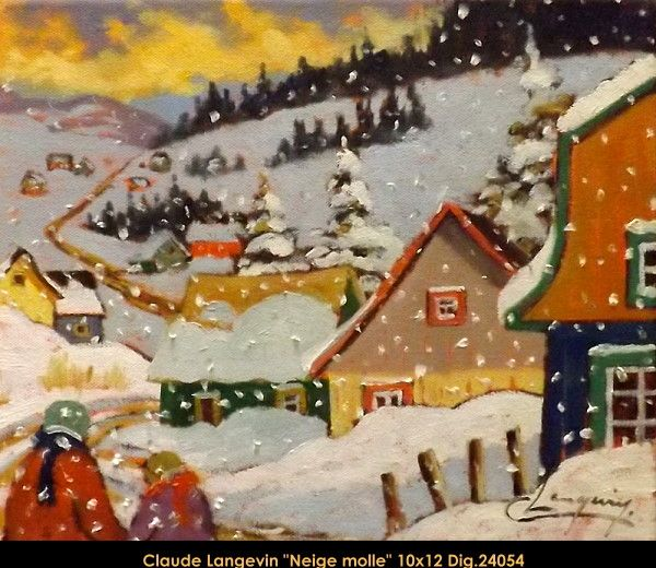 Claude Langevin original oil painting on canevas  #claudelangevin #art #artist #canadianartist #quebecartist #originalpainting #oilpainting #countryvillage #winterscene #balcondart #multiartltee