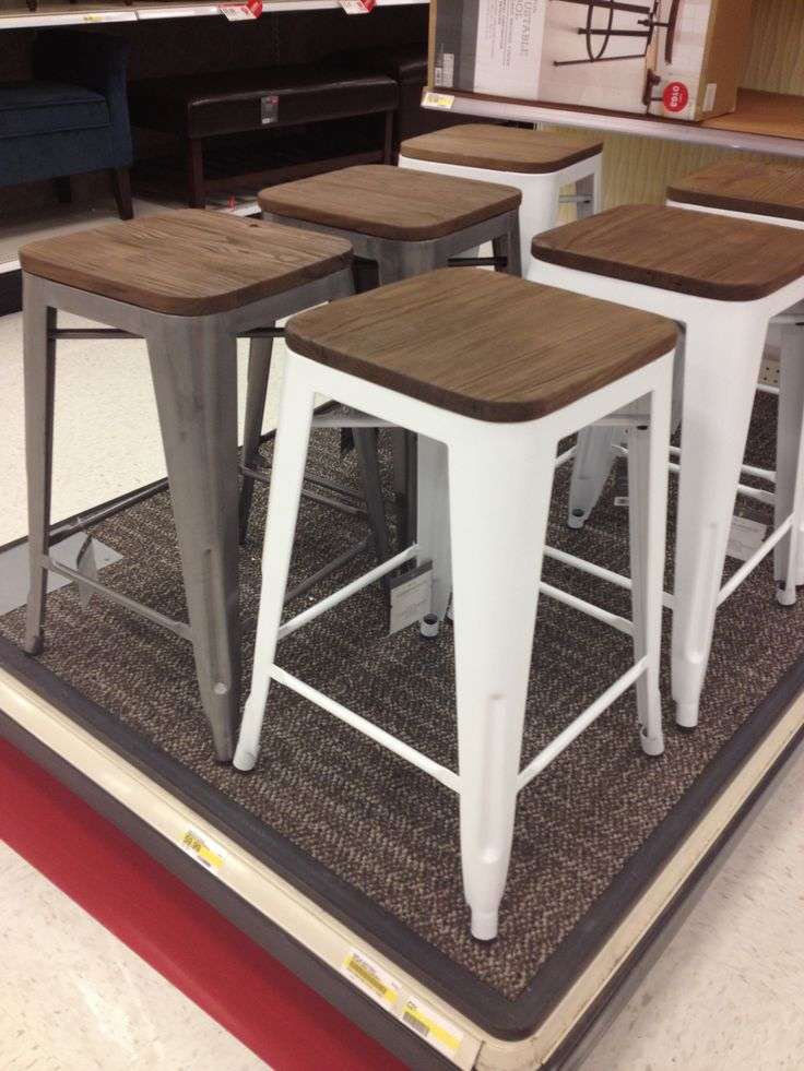 Target stool $60... Love the metal with wood tops