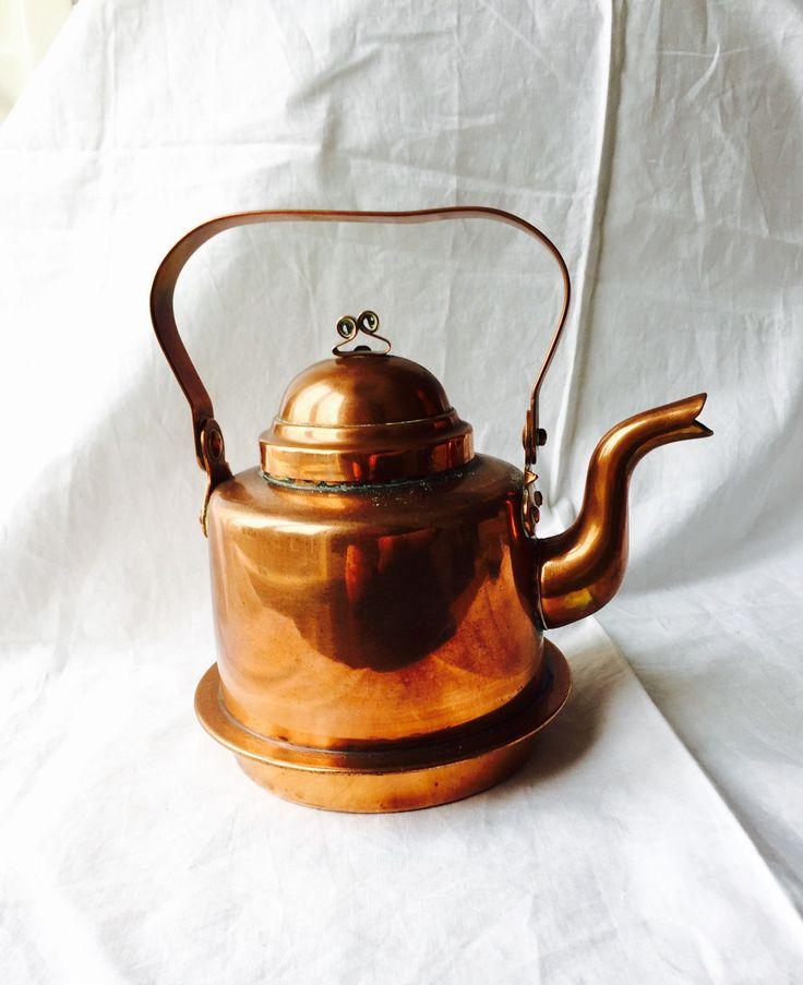 VINTAGE COPPER KETTLE  Skultuna 1607 1 litrec Polished Copper Kettle made in Sweden by StudioVintage on Etsy