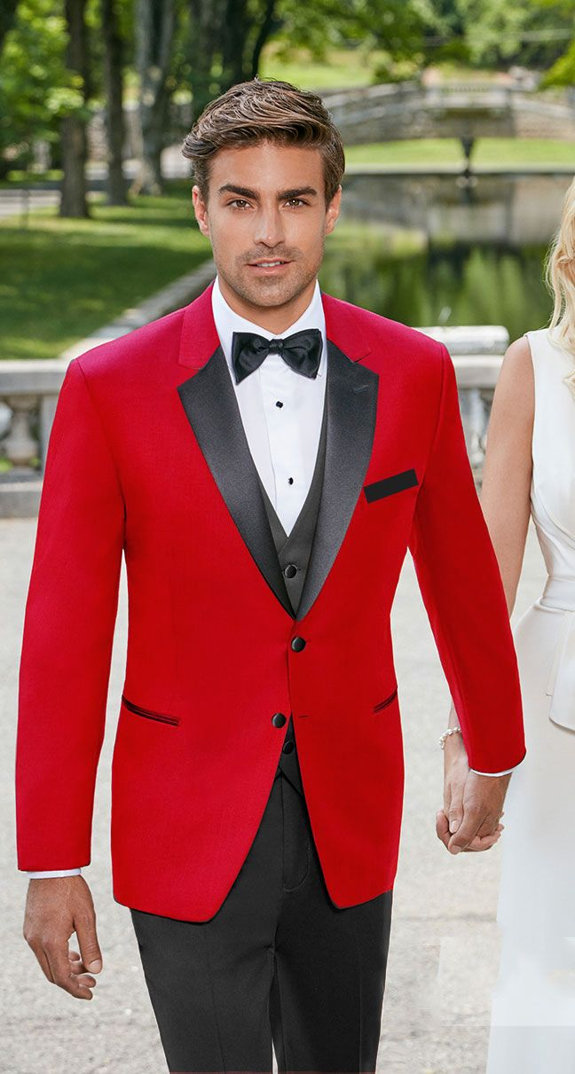 Men's red tuxedo with black satin notch lapel. This fashionable tuxedo is made…