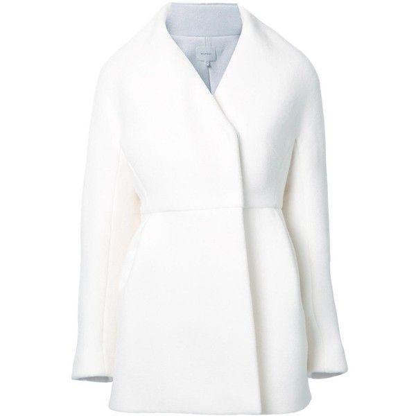 Delpozo v-neck coat (€2.515) ❤ liked on Polyvore featuring outerwear, coats, white and white coat