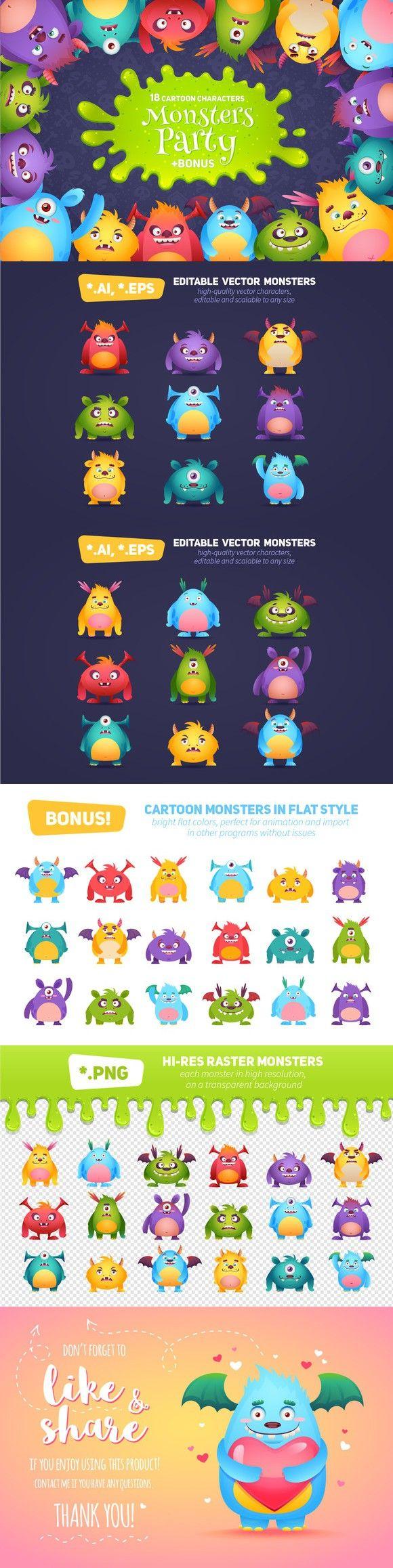 Funny Halloween Cartoon Monsters . $12.00