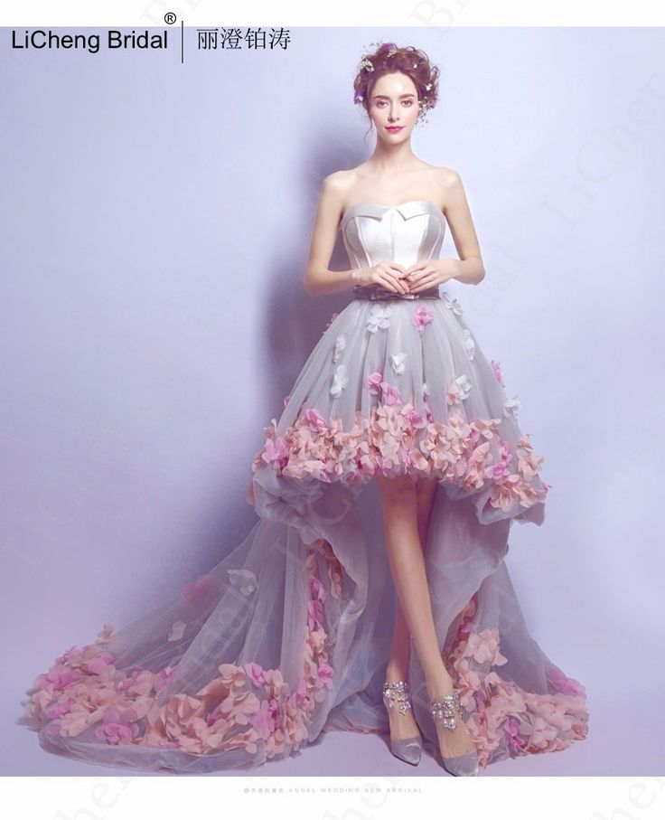 Find More Prom Dresses Information about 2017 new  flowers prom dresses short front long back evening gowns gray organza fashion party formal gowns for graduation,High Quality gown slip,China dress shirts for men designer Suppliers, Cheap dress for engagement party fashion from F&M New Fashion on Aliexpress.com