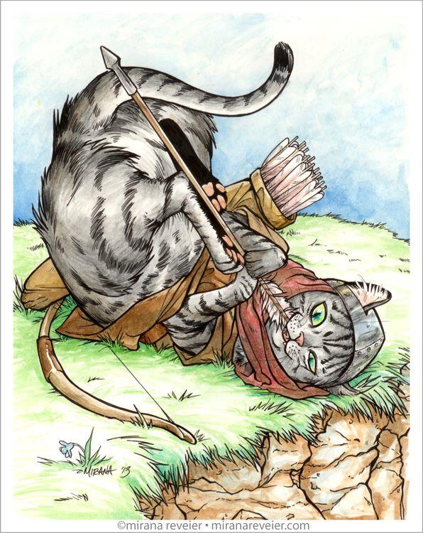 Medieval Cat Series - #2 Archer by mirana on DeviantArt