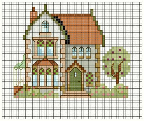 COTTAGE house cross stitch