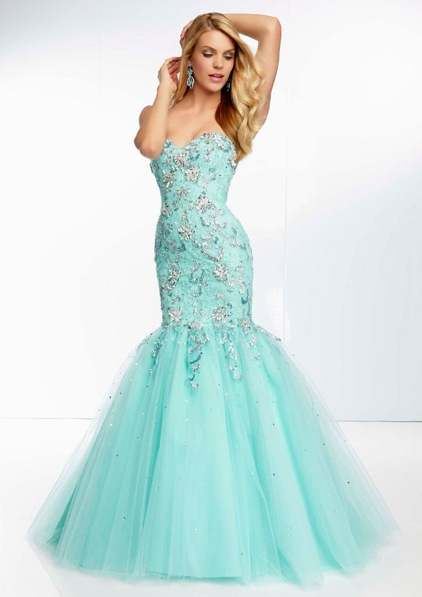 prom dress from Paparazzi by Mori Lee Style 95087 Beaded Appliques on Lace and Tulle Mermaid Prom Gown