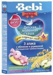 БЕБИ Премиум для сладких снов - каша 3 злака с яблоком и ромашкой с пребиотиками 200г  — 147р.  Детская молочная ночная каша из 3 злаков с яблоком и ромашкой    Молочная каша с яблоком и ромашкой «Для сладких снов» состоит из риса, кукурузы и овса. Эти злаки надолго насыщают малыша, способствуя крепкому спокойному сну. Ромашка обладает легким успокаивающим свойством, позволяя ребенку быстрее заснуть. Яблочный сок придает блюду приятный вкус, вызывая аппетит даже у малоежки. Каша обогащена…