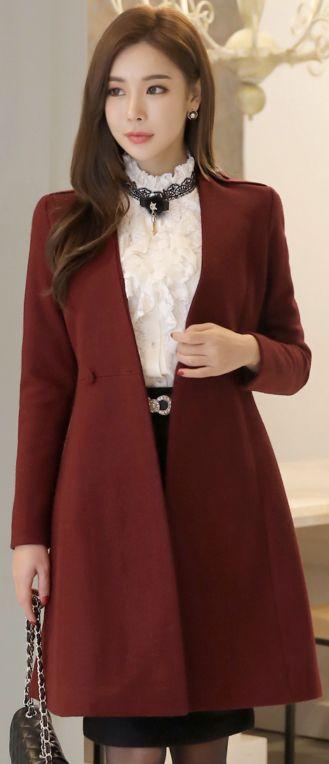 StyleOnme_Pearl Accent Ribbon Belt Set Collarless Coat #feminine #coat #winered #koreanfashion #kstyle #kfashion #falltrend #seoul