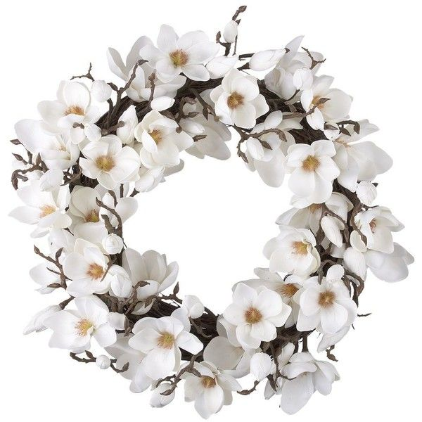 Crate & Barrel Magnolia Artificial Flower Wreath (195 CAD) ❤ liked on Polyvore featuring home, home decor, floral decor, flowers, wreath, deco, decor, filler, magnolia wreath and faux flowers