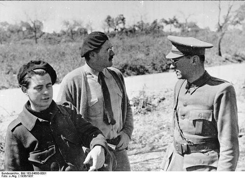 Joris Ivens, Ernest Hemingway, and Ludwig Renn (Spanish Civil War, 1937)