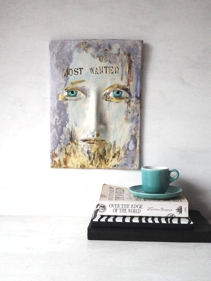 Most Wanted wall art quote, ceramic face wall sculpture, outlaw decor, 3D art tile male birthday gift, male art lover gift abstract face art by LouiseFultonStudio on Etsy