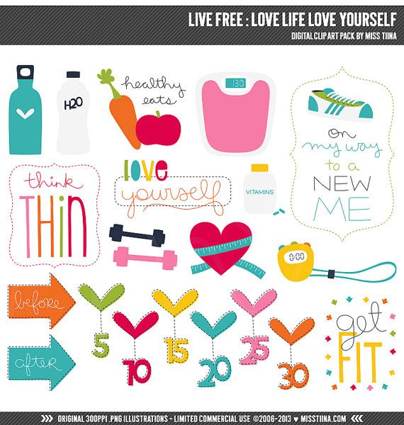 Live Free : Love Life Love Yourself Digital Clipart Clip Art Illustrations - instant download - limited commercial use ok