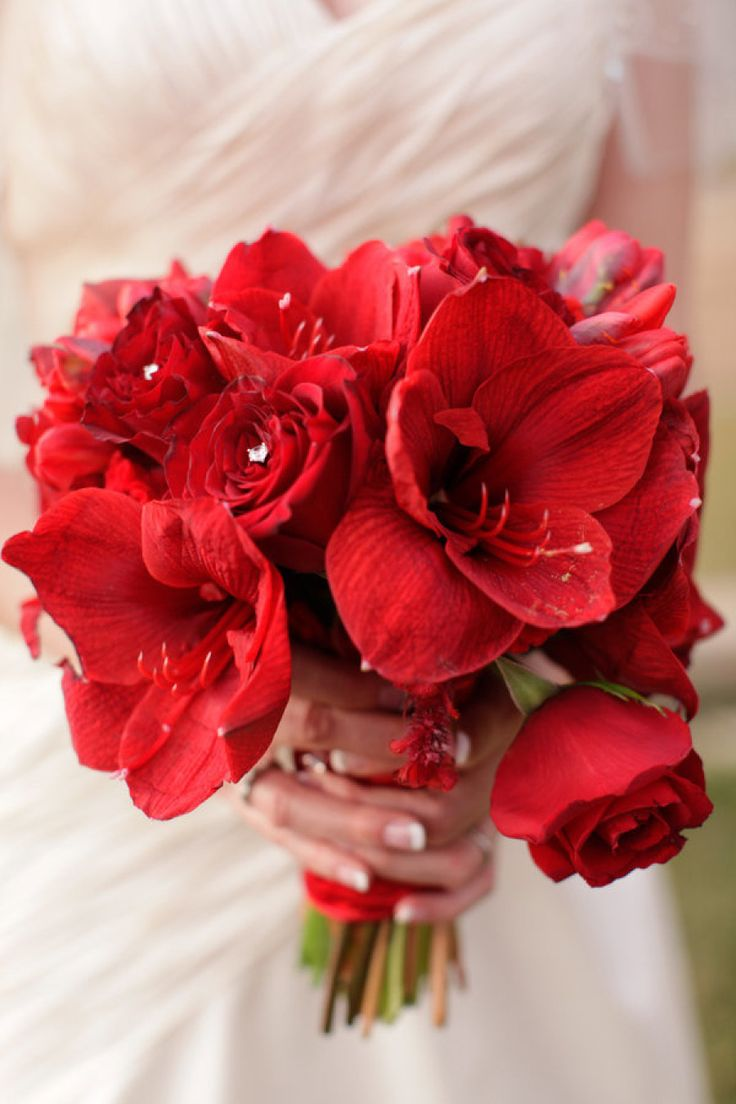 #Red Bouquet | See the wedding on #SMP Weddings: http://www.stylemepretty.com/little-black-book-blog/2012/12/24/los-angeles-christmas-wedding-from-alders-photography/  Alders Photography