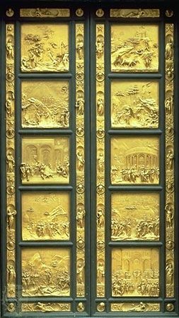 The Gates of Paradise, gilded bronze doors from the east side of the Baptistery of San Giovanni in Florence, by Lorenzo Ghiberti, 1425–52.
