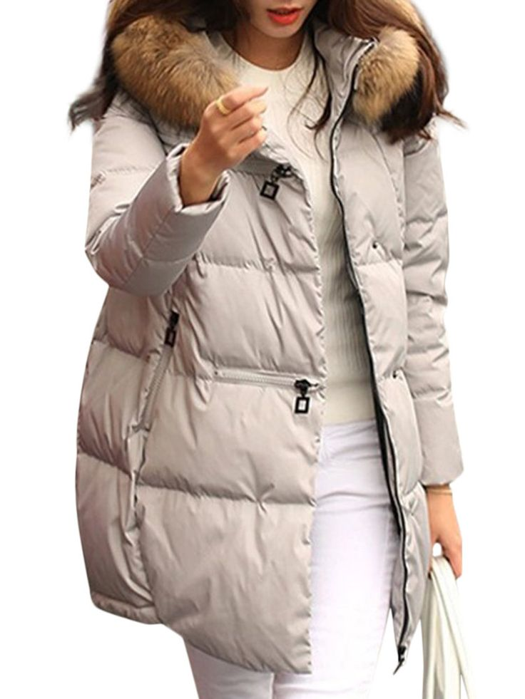 Pure Color Faux Fur Hooded Loose Long Sleeve Women Down Coats  #fashion