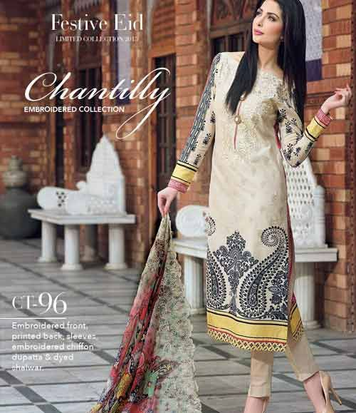 Gul Ahmed Chantilly de Chiffon festive collection CT-96