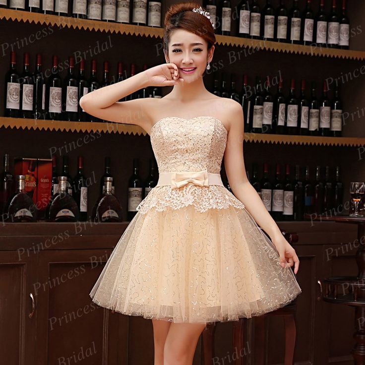 Good Price Wholesale Short Party Gown A-Line Strapless Lace Overlay Corset Back Champagne Tulle