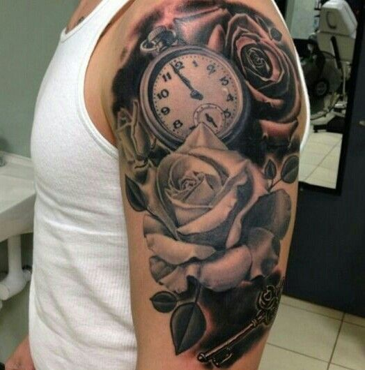 Awesome Clock And Rose Tattoo Tatts Pinterest Clock