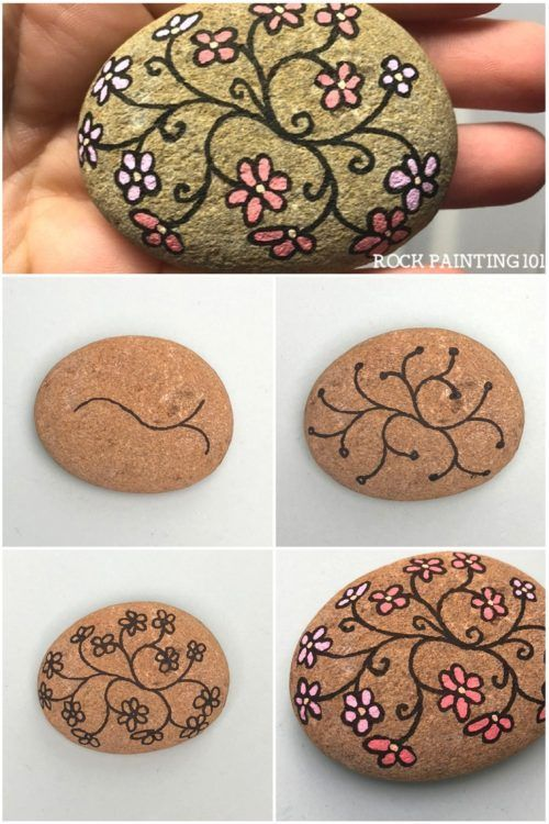Flower Vines Painted Rocks ~ Eine schnelle Steinmalidee für Anfänger