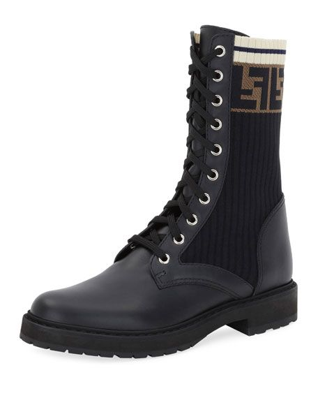 d985b3fe1731 Get free shipping on Fendi Leather Combat Boot with FF Cuff at Neiman  Marcus. Shop the latest luxury fashions from top designers.