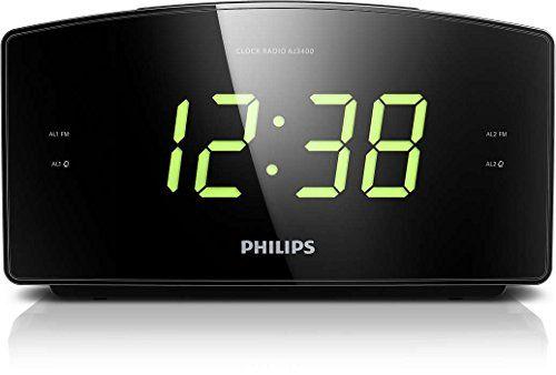 Philips AJ3400 Radio-réveil avec grand écran, tuner numérique FM, double alarme et batterie de secours, Noir: Grand écran pour une…