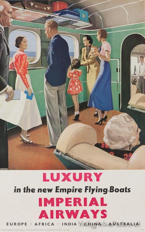 IMPERIAL AIRWAYS (Britain) Vintage style travel poster - UK / Imperial Airways