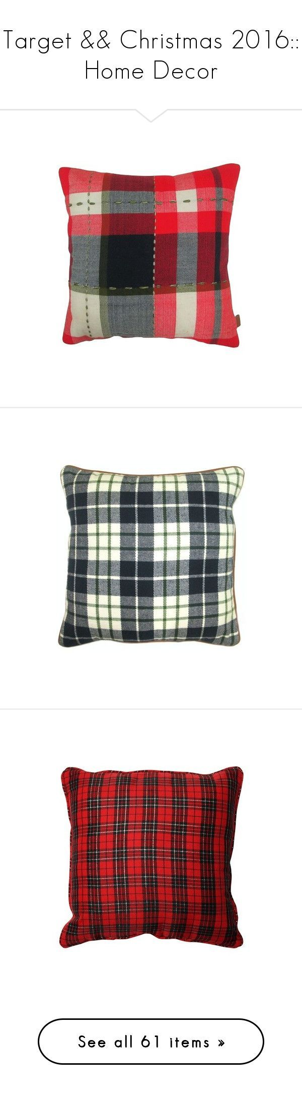 """""""Target && Christmas 2016:: Home Decor"""" by sbhackney ❤ liked on Polyvore featuring home, home decor, throw pillows, red toss pillows, red accent pillows, target home decor, tartan throw pillows, red throw pillows, target toss pillows and target accent pillows #TargetHomeDecor"""