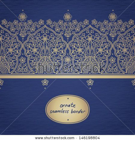 Vintage Seamless Border With Lacy Ornament. You Can Place Your Text In The Empty Frame. It Can Be Used For Decorating Of Invitations, Greeting Cards, Decoration For Bags. Stock Vector 146198804 : Shutterstock
