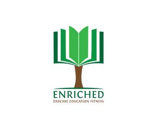 """Enriched"": #logo for daycare education with a book as part of a tree - designed by Malik Joanna, Poland"