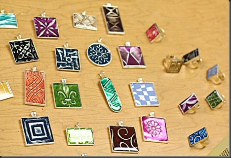 Resin Jewelry with Metallic Designs