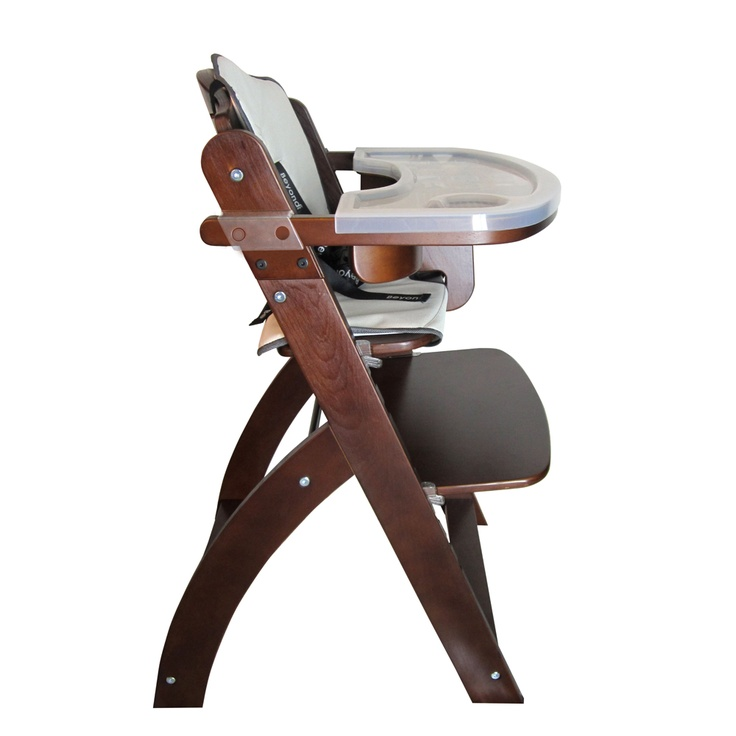 Beyond Junior Y Wooden Baby High Chair - Mahogany (side view). This wooden baby high chair is manufactured by Abiie USA (www.abiie.com) #highchair #baby #wooden