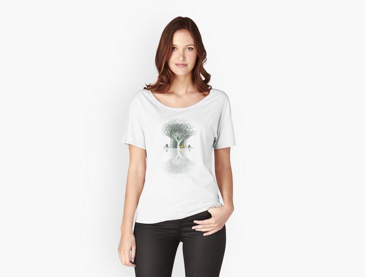 Frozen Reflection - Daylight by jollybirddesign #frozen #reflection #tree #stag #illustration #hipster #shirt
