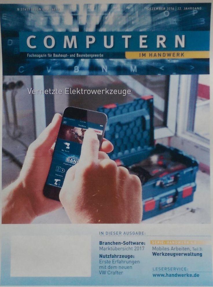 Neue Ausgabe Computern im Handwerk 12/16; in dem Fachmagazin für Bauhandwerker geht es weiter mit der Serie mobiles Arbeiten, ist die neue achtseitige Branchensoftwarübersicht 2017 und sind drei seiten Nutzfahrzeuge im Handwerk, u.a. mit einem Fahrbericht des neuen Crafter von Volkswagen.