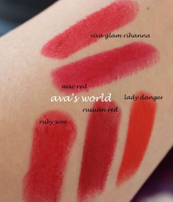 mac red viva glam rihanna ruby woo russian red lady danger