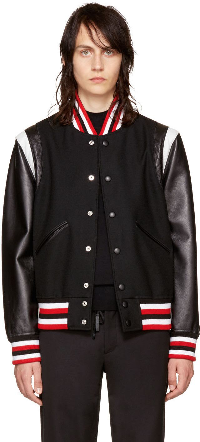 Givenchy Logo Applique Leather And Wool Bomber Jacket In Black Multi Modesens Wool Bomber Jacket Leather Bomber Jacket Bomber Jacket [ 1415 x 640 Pixel ]