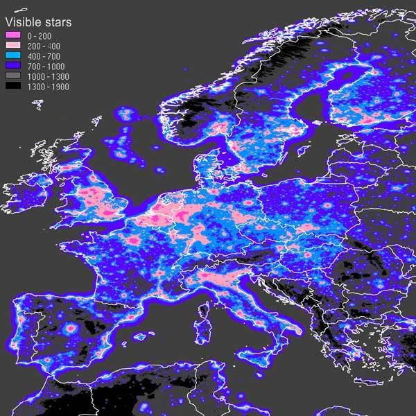 Light Pollution in Europe : the number of stars that can be seen from locations in Europe.
