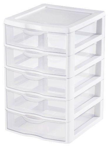 Organize Homeschool Supplies Sterilite 2194 1570 5 Drawer Clear View Storage Unit Ster