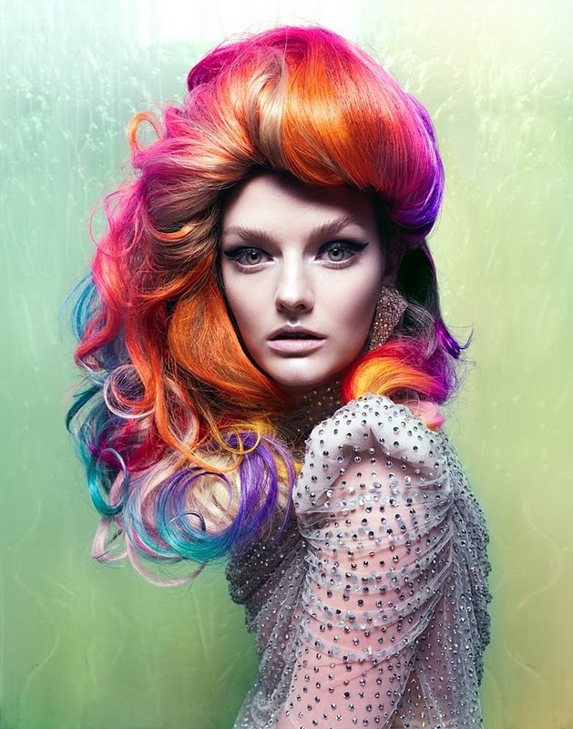 "Photographer: Elias Wessel. For Vixen Magazine. It's called ""She's a Rainbow"" and was in the spring/summer 2010 issue.  AMAZING color techniques! #rainbow #hair #boldcolor"