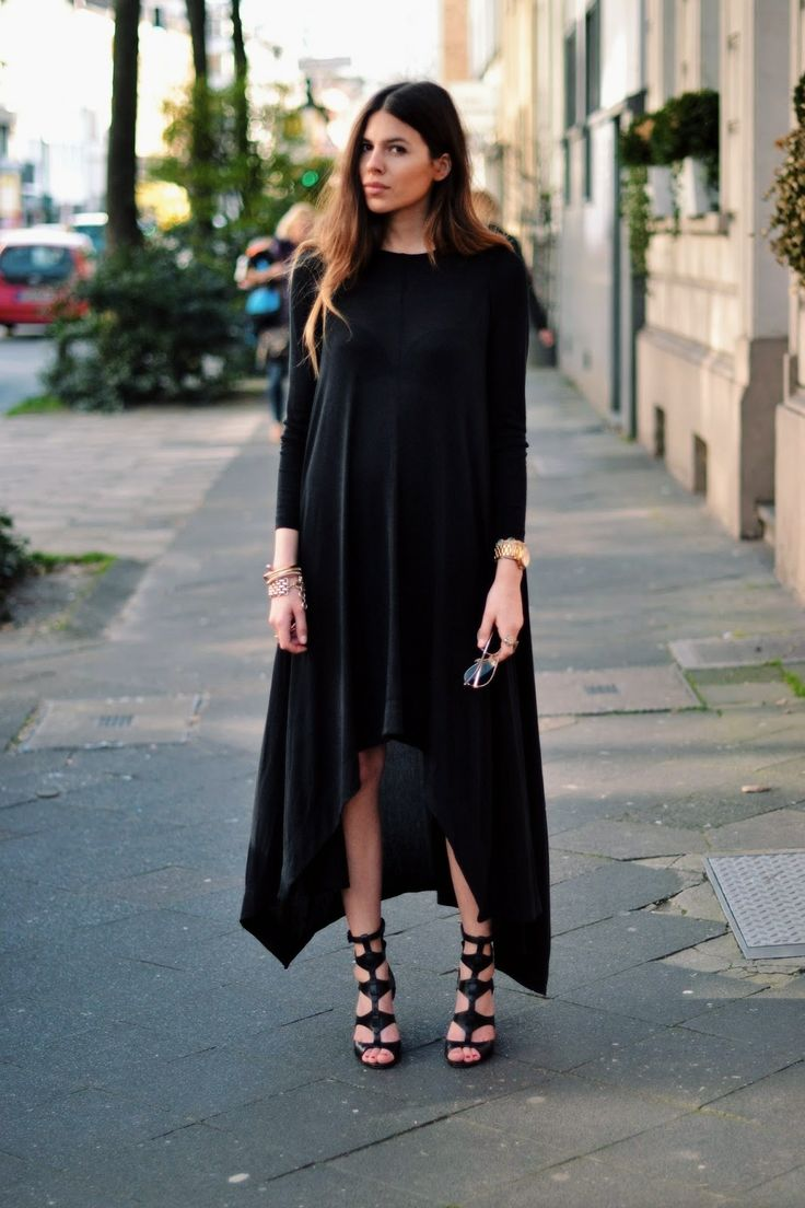Maja Wyh Black Waterfall Dress Gold Accessories Street Style The Ultimate Street Style