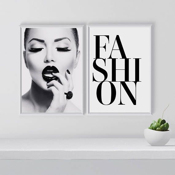 Fashion wall art set Set of 2 prints Black and white gallery