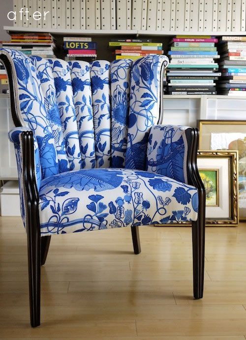 La Plata - Brunswig & Fil  via Design Sponge. A copy of Josef Frank's wonderful design.: White Chairs, Pink Pagoda, Vibrant Colors, Blue Chairs, Old Chairs, Weights Loss, Reupholst Chairs, Leather Chairs, Blue And White