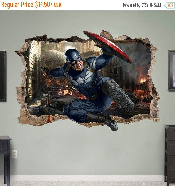 Captain America 3d Wall Sticker Smashed Bedroom Kids Decor Vinyl
