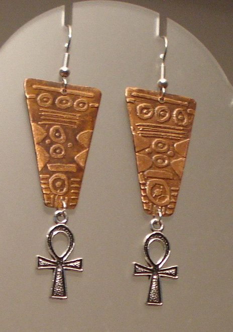Ankh earrings - Handmade Copper earrings . Etched ,  patinated and lackered to retain the patina - Egyptian earrings