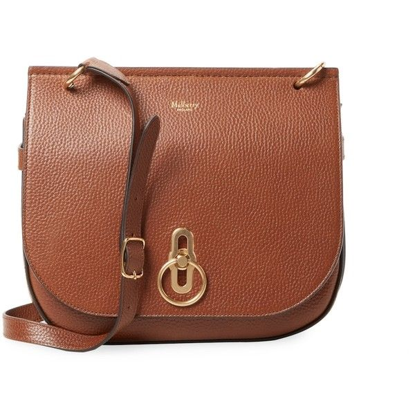 Mulberry Women's Leather Messenger Bag - Brown ($919) ❤ liked on Polyvore featuring bags, messenger bags, brown, leather messenger bag, genuine leather messenger bag, white leather bag, courier bags and flap messenger bag
