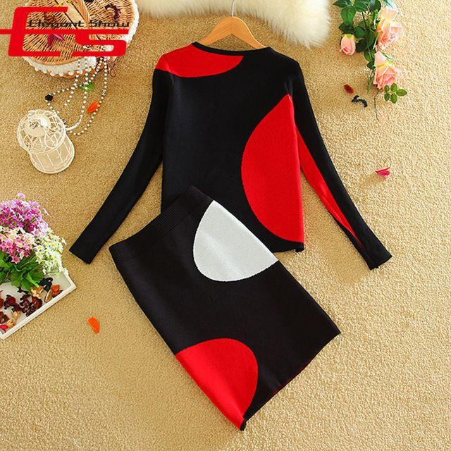 Yeni Iki Parçalı Kıyafetler 2016 Kış Kırmızı Siyah Patchwork Örme Kazak Iki Parça Elbise Kadın Giyim Uzun Kollu Bodycon Elbiseler
