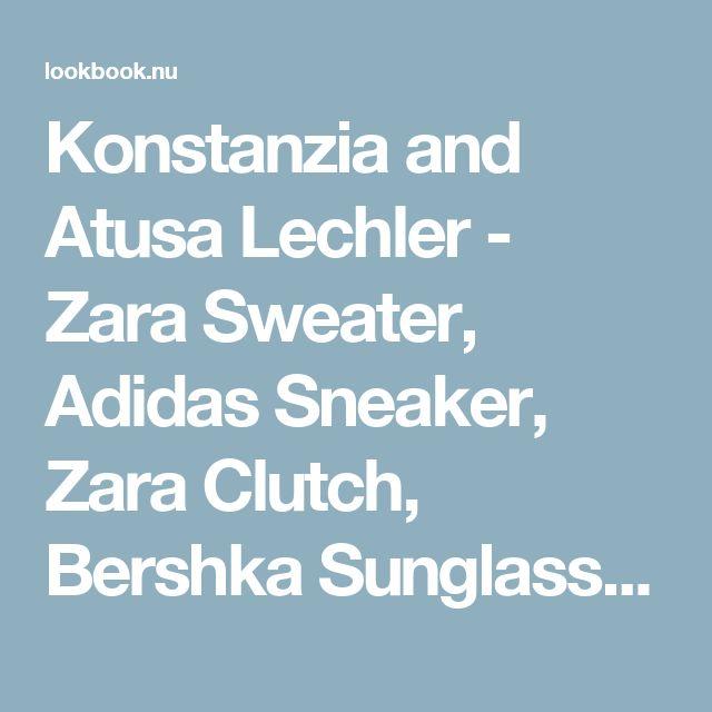 Konstanzia and Atusa Lechler - Zara Sweater, Adidas Sneaker, Zara Clutch, Bershka Sunglasses - Grey Knit | LOOKBOOK