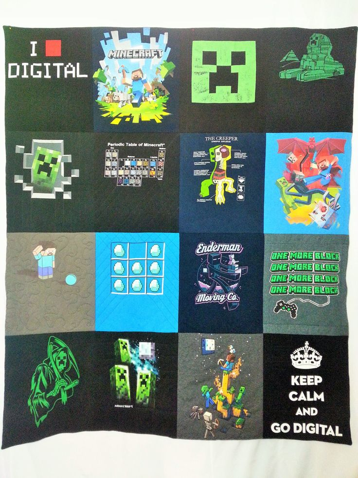 Minecraft t-shirts made into a quilt. Geeky bedding made from shirts with Minecraft Steve, Creepers, Enderman, Diamonds, and more. - pinned by pin4etsy.com